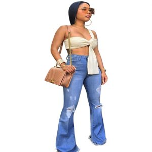 Explicitly-Chosen-Blue-Ripped-Jeans-Full-Length-High-Rise-Chic-Trend