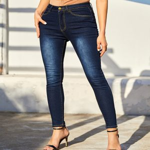 Nice-Blue-Hight-Waist-Jeans-Button-With-Pockets-Fashion-Clothing